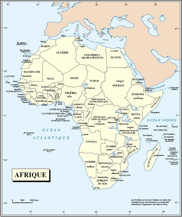 Carte des pays d afrique