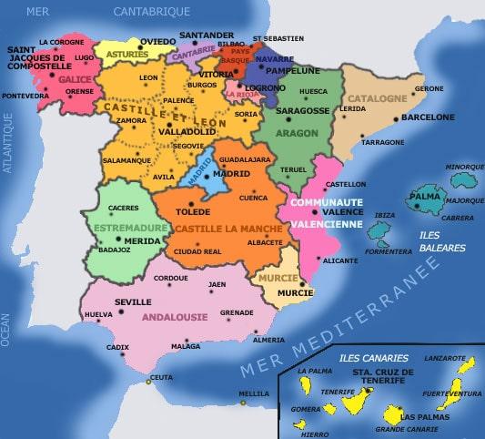 Carte des regions de l'Espagne en couleur avec les villes.