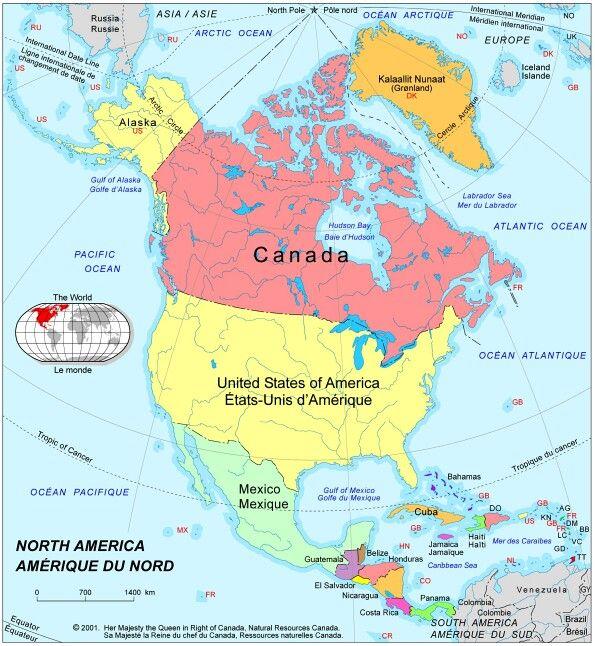 carte amerique du nord - Image