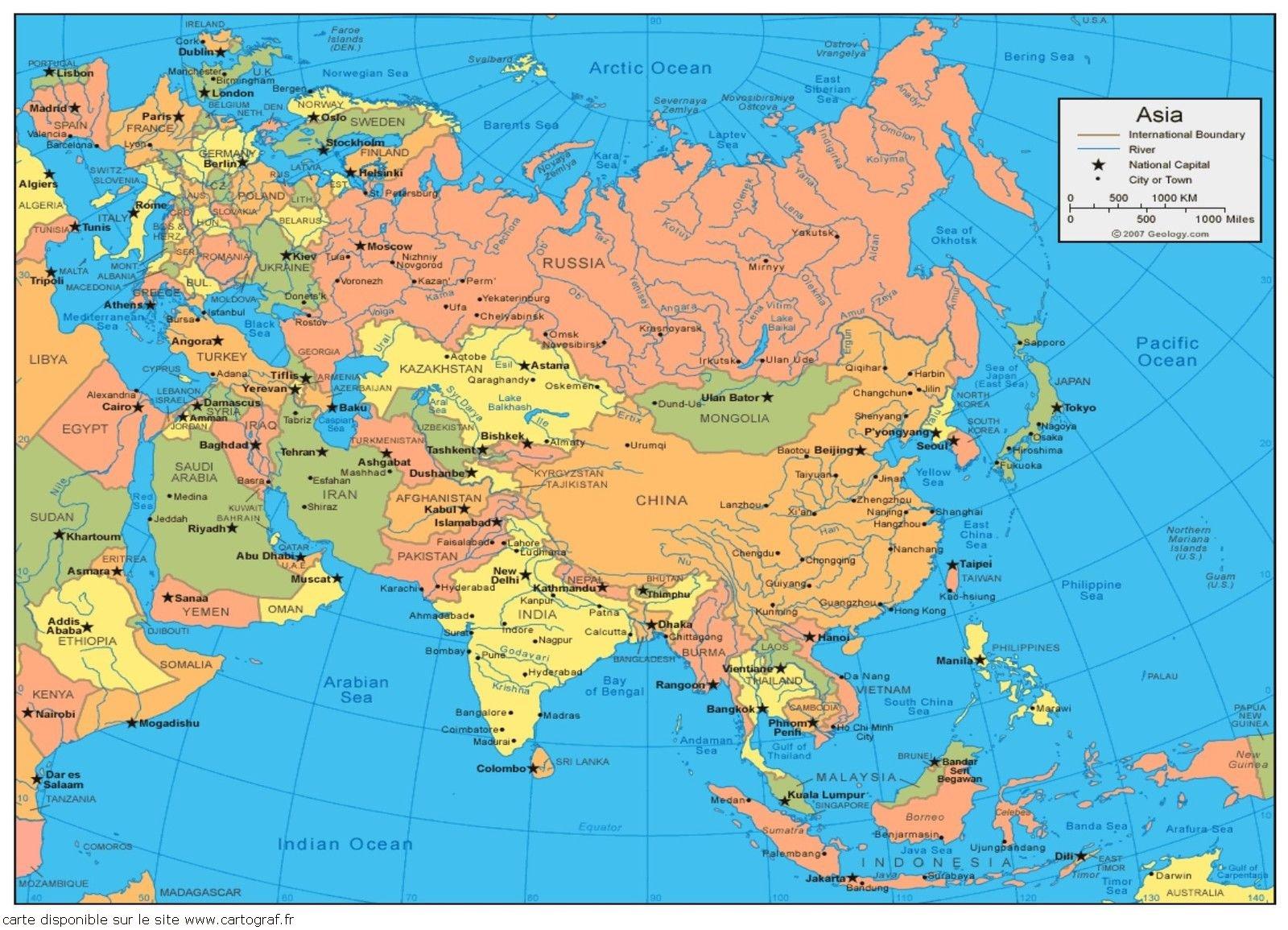Carte De Lasie.Cartograf Fr Les Cartes Des Continents L Asie