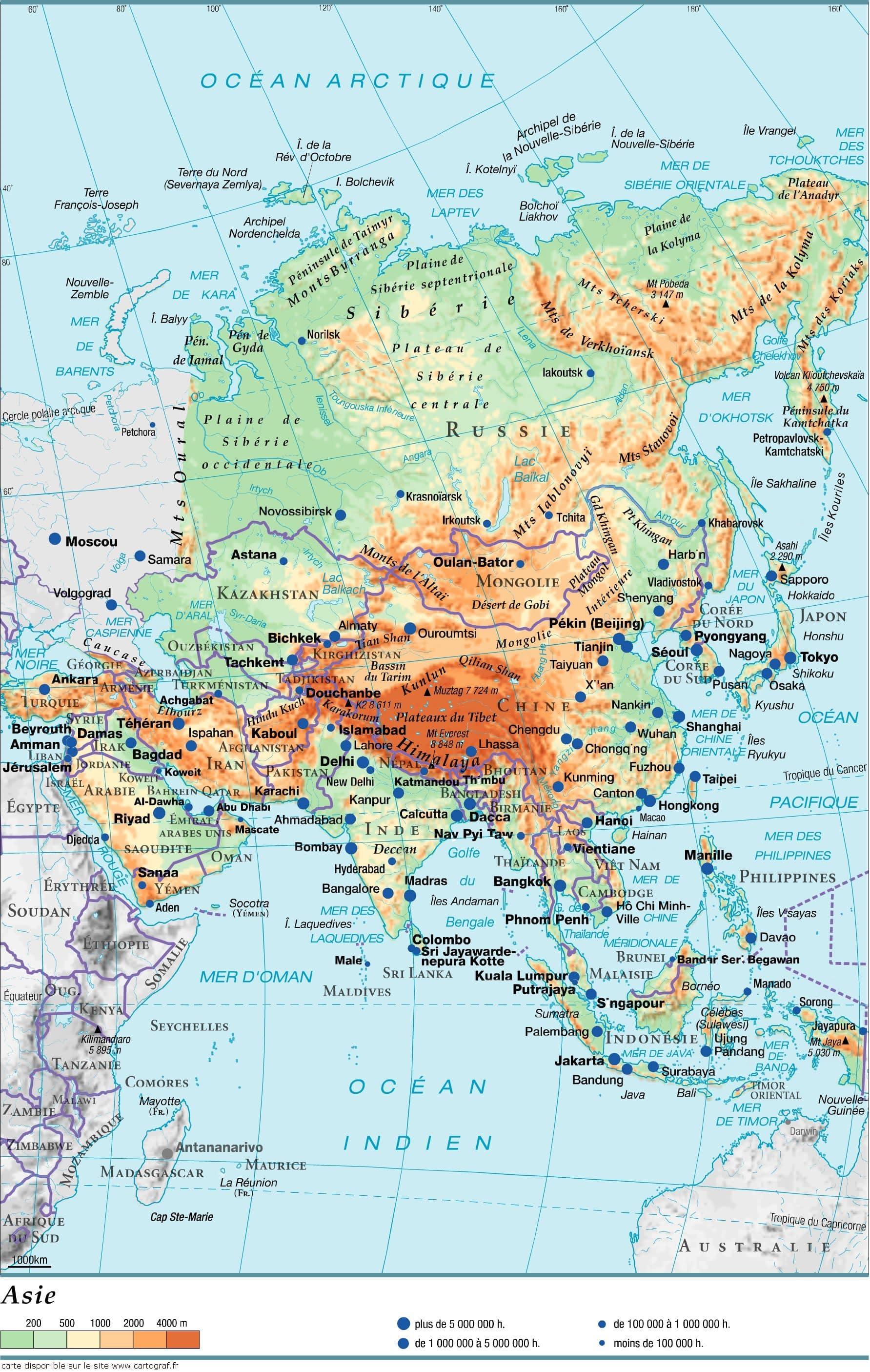Carte Geographique Asie Pacifique.Cartograf Fr Les Cartes Des Continents L Asie Page 2