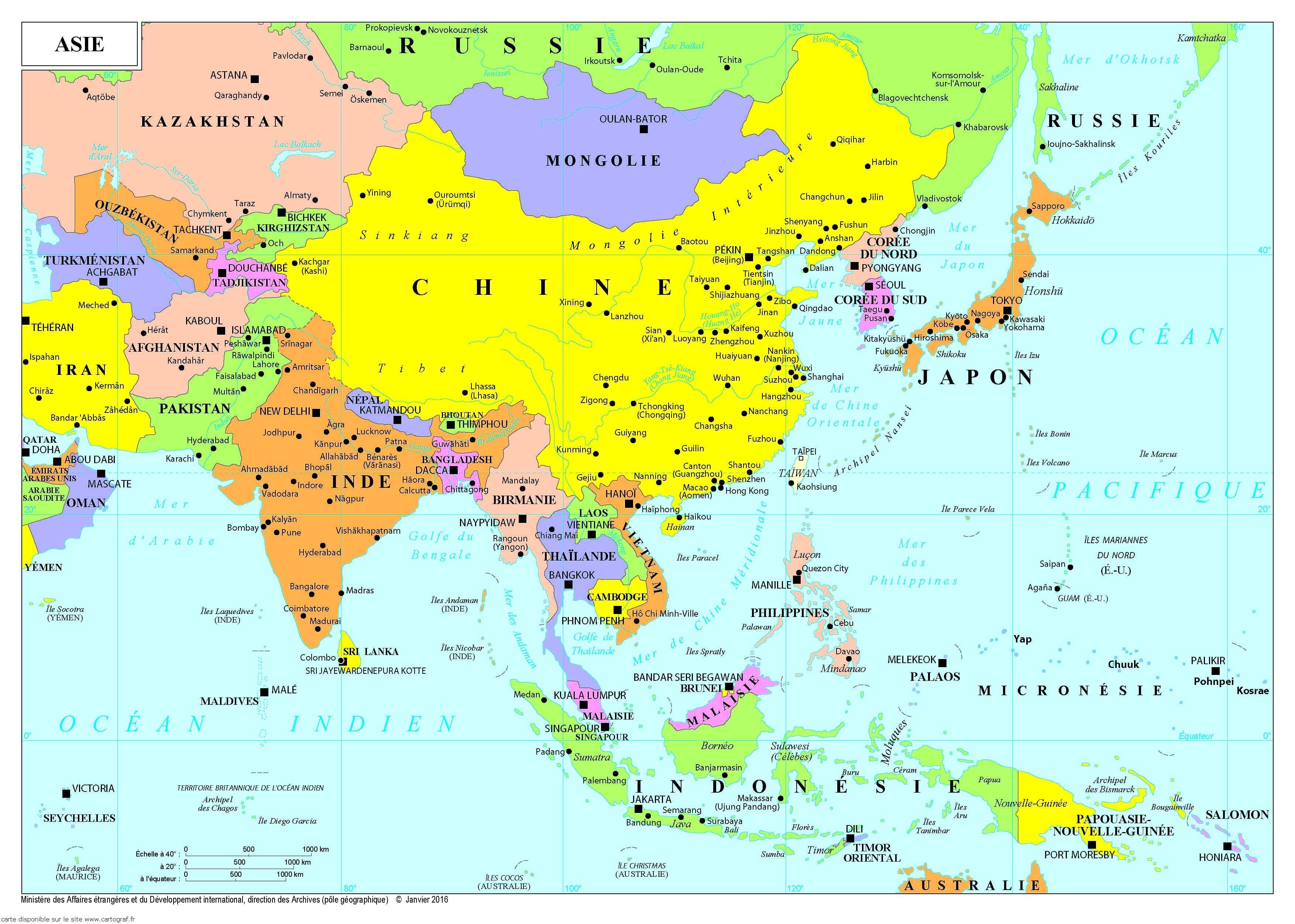 Carte Asie Du Sud Est Avec Villes.Cartograf Fr Les Cartes Des Continents L Asie Page 2