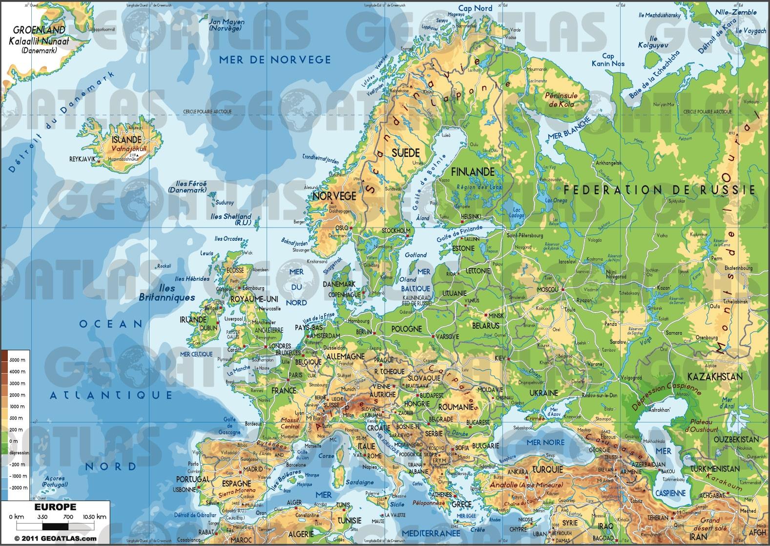 carte europe physique