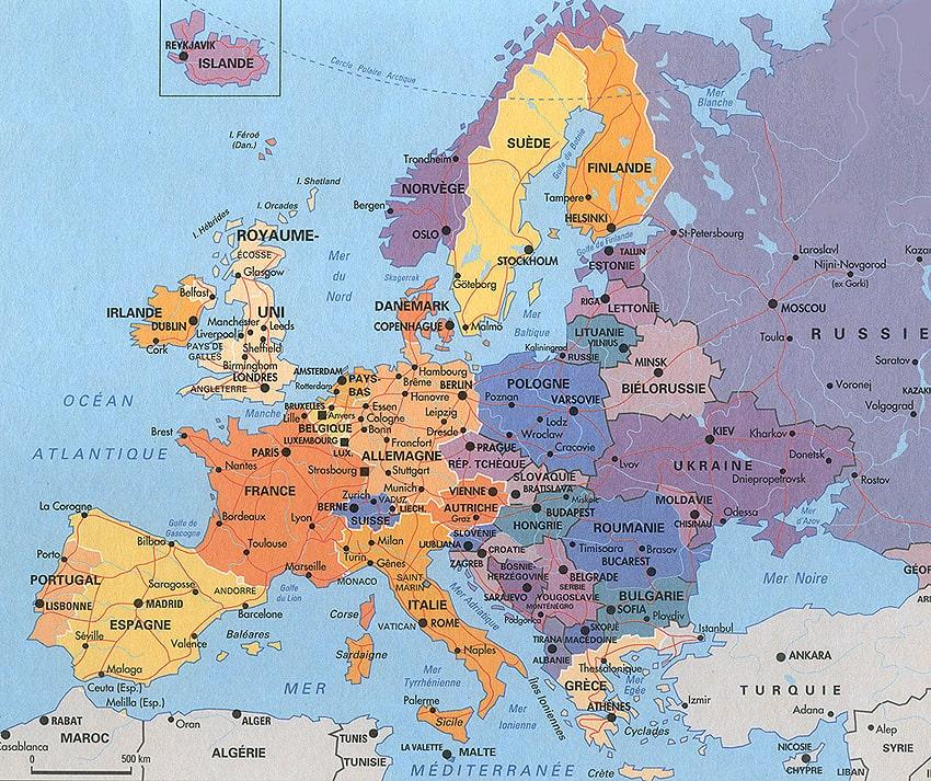 carte europe avec ville