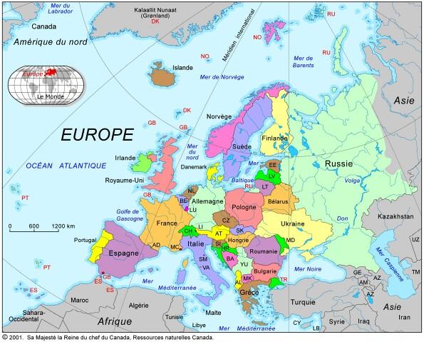carte de l 39 europe carte avec les pays avoisinants. Black Bedroom Furniture Sets. Home Design Ideas
