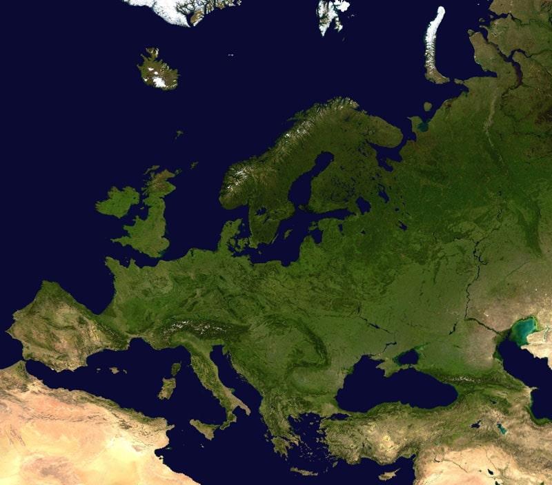 carte europe satellite