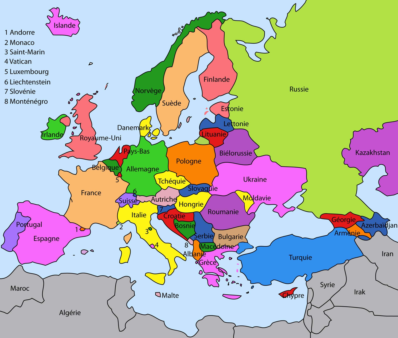 carte europe pays - Image