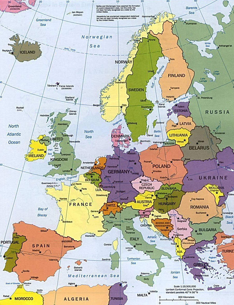 carte europe continent