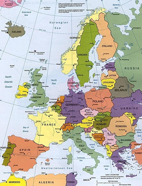 les cartes des continents l 39 europe. Black Bedroom Furniture Sets. Home Design Ideas