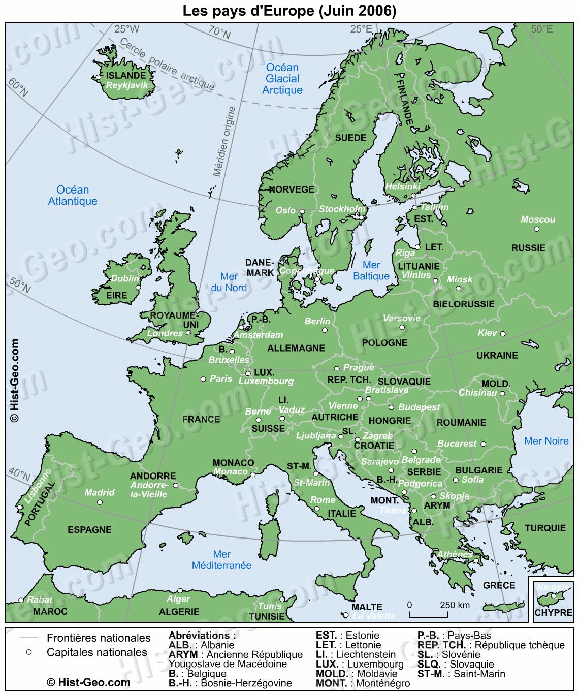 carte europe echelle
