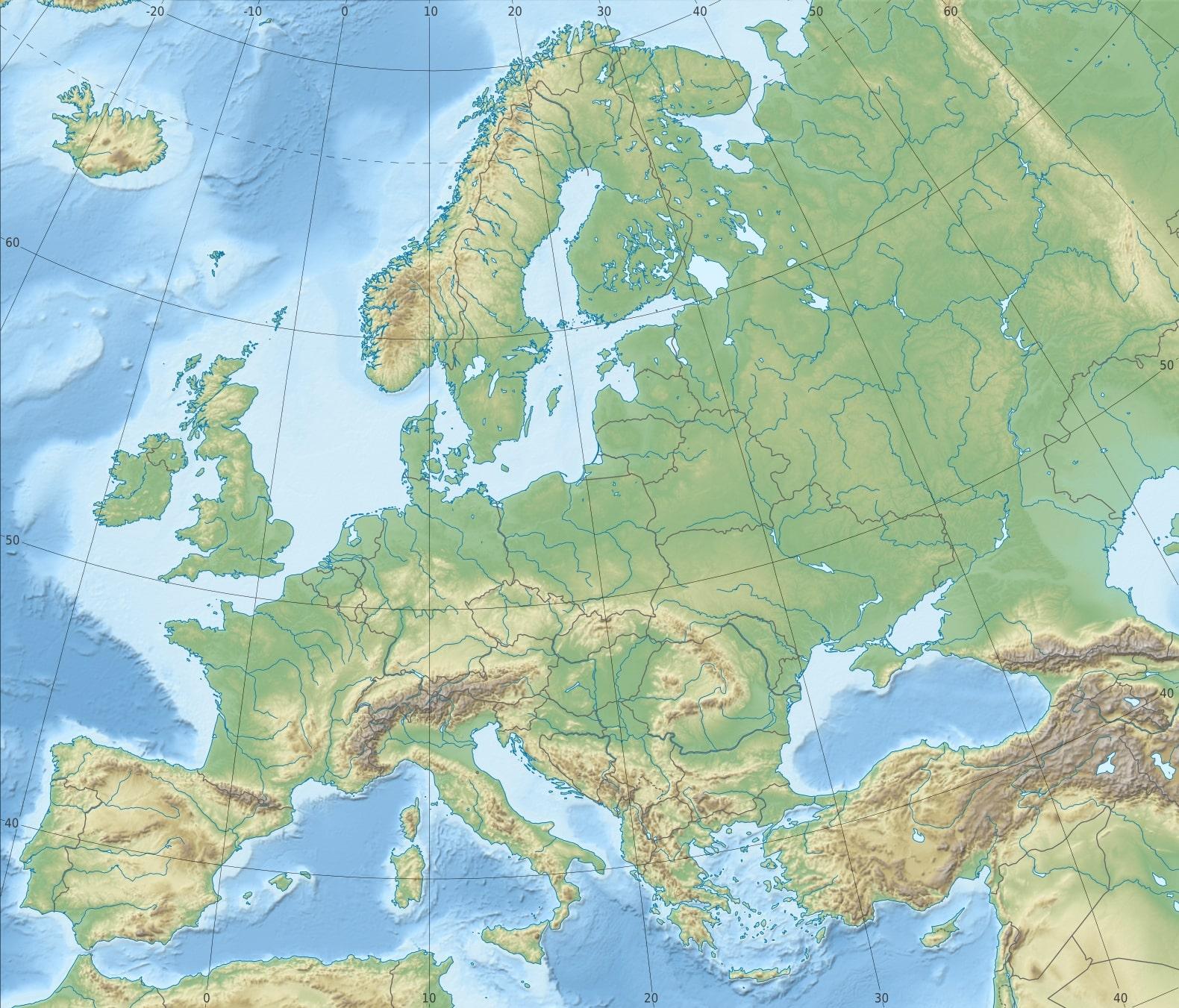 carte europe relief
