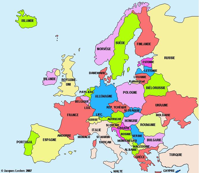 carte europe vierge couleur