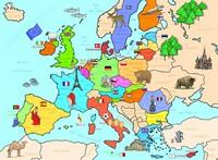 Carte de l'Europe pour les enfants avec les symboles de chaque pays en couleur
