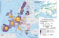Carte de l'Europe avec les migrations de population