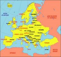 Carte de l'Europe géographique avec les pays