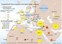 Carte d'Europe et des régions voisines avec une projection de la population et du taux de croissance pour 2025