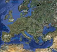 Carte de l'Europe avec le relief et les grandes péninsules