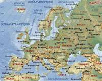 Carte avec les pays, les capitales et les grandes villes en Europe