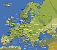 Carte de l'Europe avec le relief simplifié, les grandes villes et les capitales
