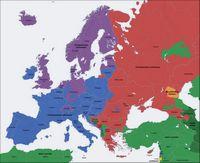Carte de l'Europe avec les religions