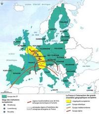 Carte des richesses en Europe avec l'arc rhénan en jaune