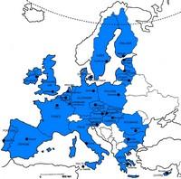 Carte de l'Europe avec seulement les pays membres de l'Union Européenne en couleur en 2007
