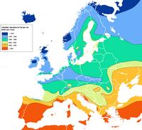 Carte de l'Europe avec le taux d'ensoleillement par heure par an