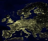 Carte de l'Europe vue de nuit