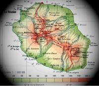 Carte de la Réunion avec l'altitude en mètre