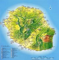Carte de la Réunion avec des informations touristiques