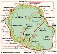 Carte de la Réunion avec les villes et les distances en km