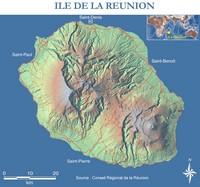 Carte de la Réunion vierge avec le relief