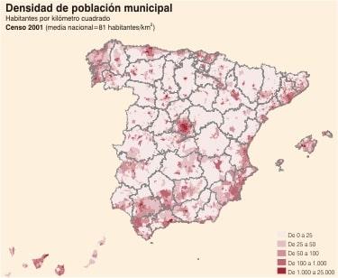 Carte de la densité de population en Espagne