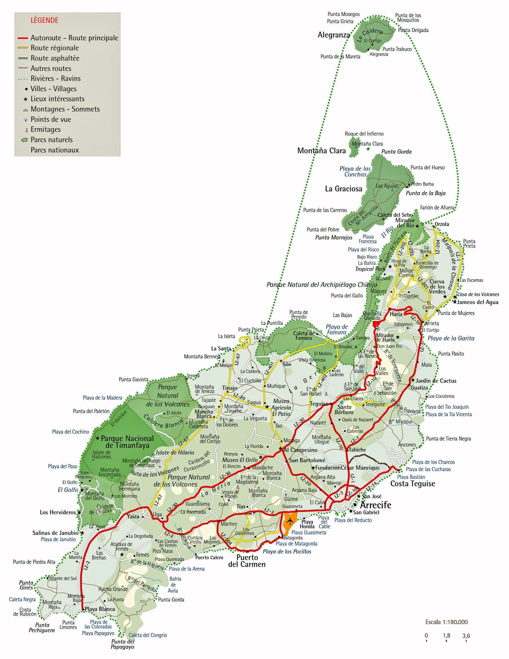Cartograf.fr : L'Espagne : Les iles Canaries : Lanzarote