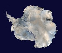Carte satellite de l'Antarctique.