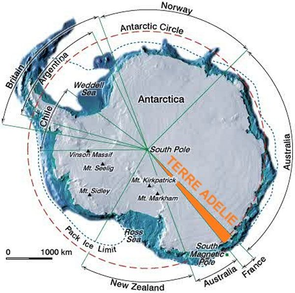 Carte de l'Antarctique.
