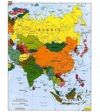 Carte des pays et des villes d'Asie