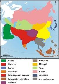 Carte des langues en Asie