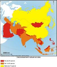 Carte de l'accroissement naturel en Asie