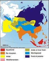 Carte des climats en Asie