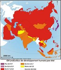 Carte de l'indice de developpement humain en Asie