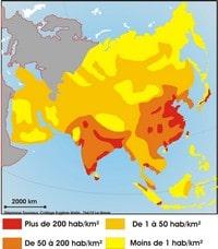 Carte de la densité de la population en Asie