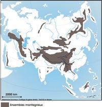 Carte du relief en Asie