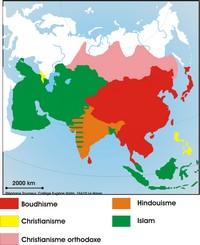 Carte des religions en Asie