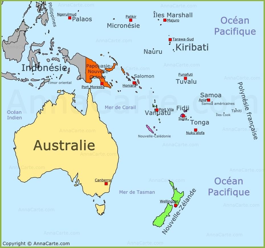 Carte De Lasie Et Oceanie.Cartograf Fr L Australie