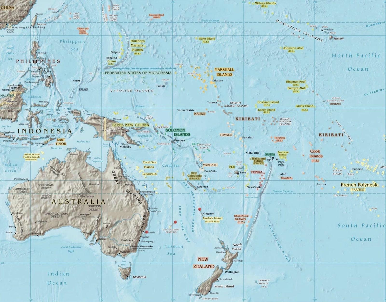 carte oceanie