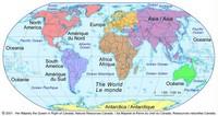 Carte du monde avec les continents en couleur