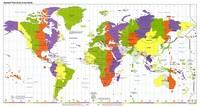 Carte du monde avec les fuseaux horaires et le découpage par couleur en anglais
