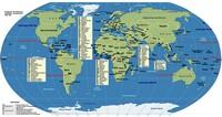Carte du monde avec tous les pays et de nombreuses informations, projection de Robinson