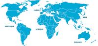 Carte du monde vierge avec seulement les frontières entre les pays et le nom des continents